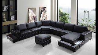 Leather U Shaped Sectional Sofa