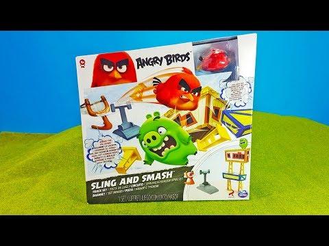 Angry Birds 🐤 SLING and SMASH 🐷 Kinder Spielzeug ausgepackt und angespielt 🎯 Unboxing deutsch