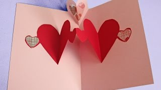 Easy pop up heart card making tutorial (to make with kids not just for Valentine