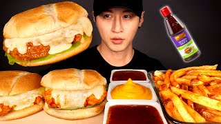 ASMR CHEESY CHICKEN SANDWICH & FRIES MUKBANG 먹방 (No Talking) COOKING & EATING SOUNDS