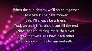 Rihanna   Umbrella, Lyrics In Video