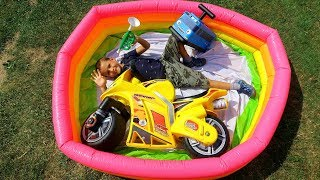 Funny Video For Children Kid Ride on Bike Power Pocket Wheels on the Bus Magic Hide and Seek Pool