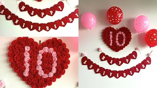 Simple Anniversary Decoration Ideas At Home | Romantic Room Decor Ideas | DIY Heart Banner