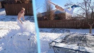 TRAMPOLINE FLIPS INTO SNOW CHALLENGE!