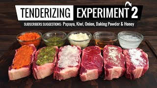 Best methods to TENDERIZE STEAK tested! Papaya, Kiwi, Baking Powder, Onion & Honey!