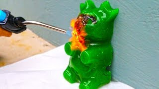 GIANT GUMMY BEAR VS 1000 DEGREE TORCH!