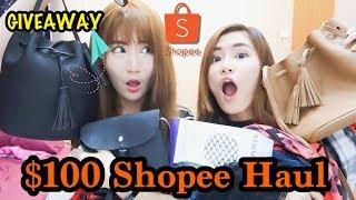 $100 Shopee Haul + Unboxing Fashion Grab Bag! + GIVEAWAY!