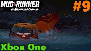 SpinTires Mud Runner: XBOX ONE Let's Play! Part 9, Semi Truck pulling Semi Truck + UAZ