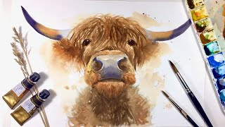 HIGHLAND COW / WATERCOLOR PAINTING / How To Draw And Paint Tutorial / Simple Animal Painting