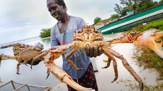 Huge Caribbean KING CRAB 🦀 RUNDOWN!! Jamaican Seafood Tour - Jamaica! 🇯🇲