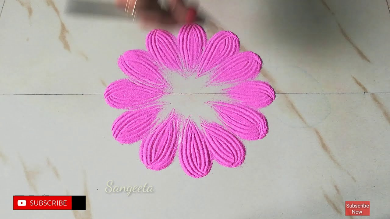 quick rangoli design by sangeeta