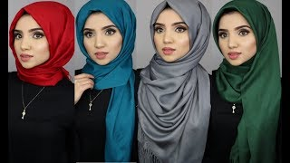 4 Simple Hijab Styles Using Pashmina Scarves