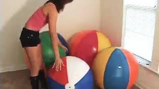 Girl Sit To Pop Beachball Sit To Pop On Beach Balloons Looner Girl Sit