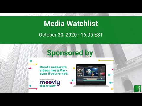 InvestorChannel's Media Watchlist Update for Friday, October 30, 2020, 16:05 EST