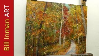 How To Paint Trees With Fall Leaves - Early One Morning Oil Painting By Bill Inman