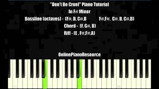♫ Dont Be Cruel by Bobby Brown Piano Tutorial In F# Minor ♫