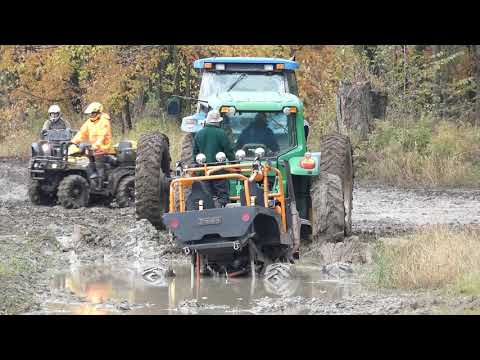When You Need 2 Tractors To Pull Your Mega Truck From Mud Pit Jeep 4x4 Off-Road Mudding