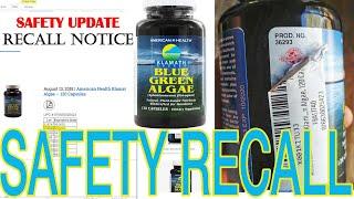 Klamath Shores Blue Green Algae American Health Safety Recall