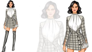 Fashion Illustration: How To Draw A Plaid Design/fabric/dress (digital Drawing)