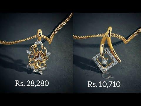 Diamond gold Pendants designs with PRICE By Bluestone