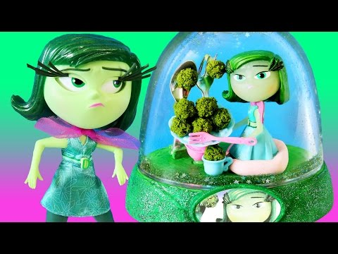 INSIDE OUT DISGUST GLITTER GLOBES Broccoli Dinner Disney Toys How to Make Your Own Green Glitter