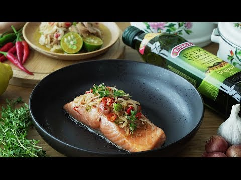 Olive Oil Poached Salmon with Torch Ginger Flower Salad - 油煮三文鱼
