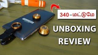 340 - மட்டுமே   Universal Clip Lens and Selfie Stick Unboxing and Review in Tamil