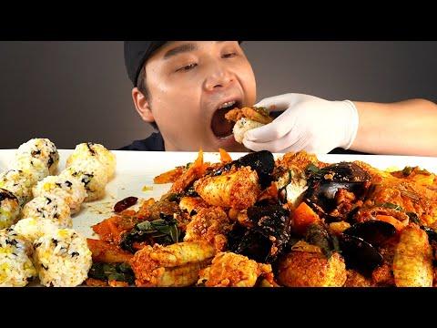 매콤한 해물볶음알찜과 날치알 주먹밥 먹방~!! 리얼사운드 ASMR social eating Mukbang(Eating Show)