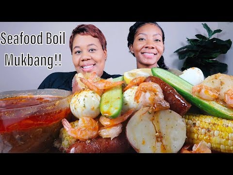 SEAFOOD BOIL MUKBANG WITH MY DAUGHTER , BLOVES NEW MILD SMACKALICIOUS SAUCE