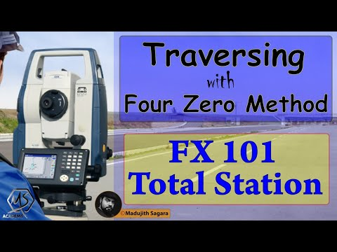 Traversing with four zero method using FX 101 Total Station   Total ...