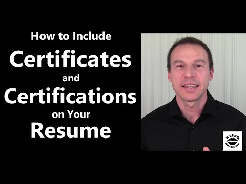 Certificates and Certifications on Your Resume - YouTube