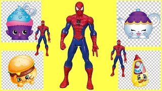 SHOPKINS TOYS - Spiderman Game with Shopkins Toys Surprise Spot It Game! Fun for Kids