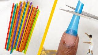 Testing DIY NAIL HACKS - Episode 1 - Fake Nails With Drinking Straws???
