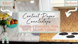 Contact Paper Countertop | Rounded Corners | Around Sink And Stove | 6 Month Update