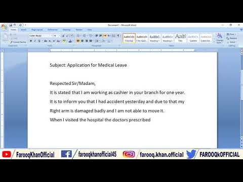 How to Write Medical Leave application // Application Writing Skill in English