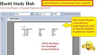 Use Crystal Reports in Asp.Net Website C# | Hindi | Learn Reporting Tool in Asp.Net | Online Class