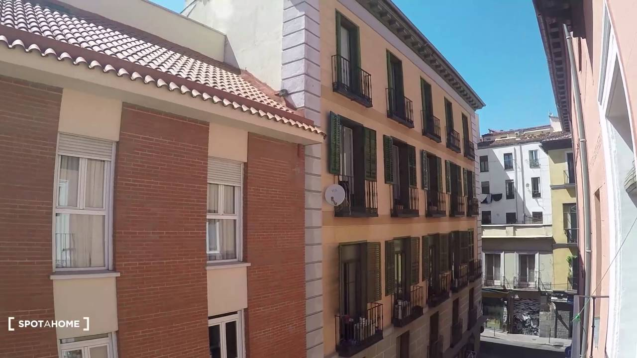 Sophisticated room with standalone wardrobe in shared apartment, Puerta del Sol