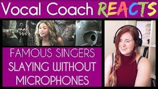 Vocal Coach Reacts to Famous Singers Slaying without Microphones