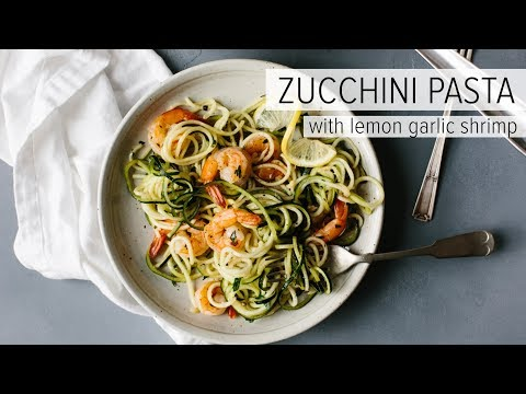 ZUCCHINI PASTA WITH LEMON GARLIC SHRIMP | a healthy, gluten-free, Whole 30 recipe