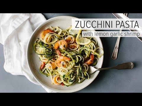ZUCCHINI PASTA WITH LEMON GARLIC SHRIMP   a healthy gluten-free Whole 30 recipe
