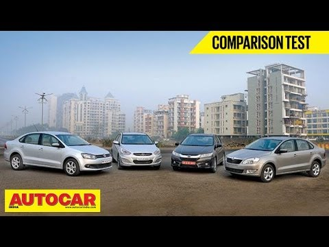 New Honda City Vs Hyundai Verna Vs Skoda Rapid Vs VW Vento | Comparison Test - Volkswagen Video