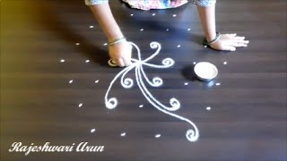 friday kolam designs with dots || simple rangoli kolam designs || easy muggulu designs