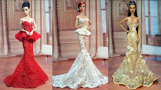 Gorgeous Barbie Doll Dresses ❤️ 4 DIY Doll Makeover Transformations    BARBIE DOLL HACKS