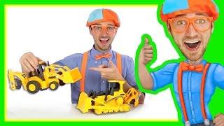 Backhoe Bulldozer For Kids - Construction Toys With Blippi | Learn Letters