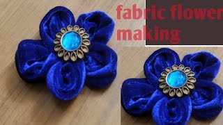 How To Make A Beautiful Fabric Flower/fabric Flower For Dresses/fabric Flower Diy/flower Tutorial