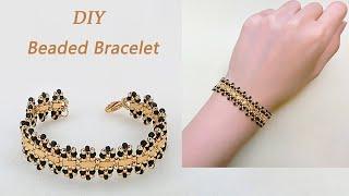 DIY Stylish Beaded Bracelet with Miyuki Half Tila beads, Gold and Jet Black Seed Beads 手工制作个性串珠手链