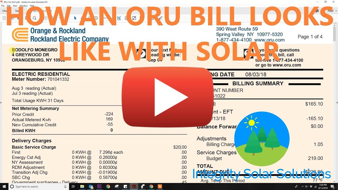 How an ORU Bill looks like with Solar
