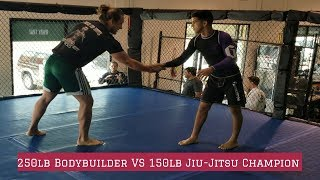 250lb BODYBUILDER VS 150LB JIU-JITSU WORLD CHAMPION-GUY MEZGER GYM-TEXAS-BJJ MATHEUS GABRIEL