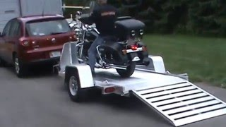 Aluma MC10 Motorcycle Trailer with Harley