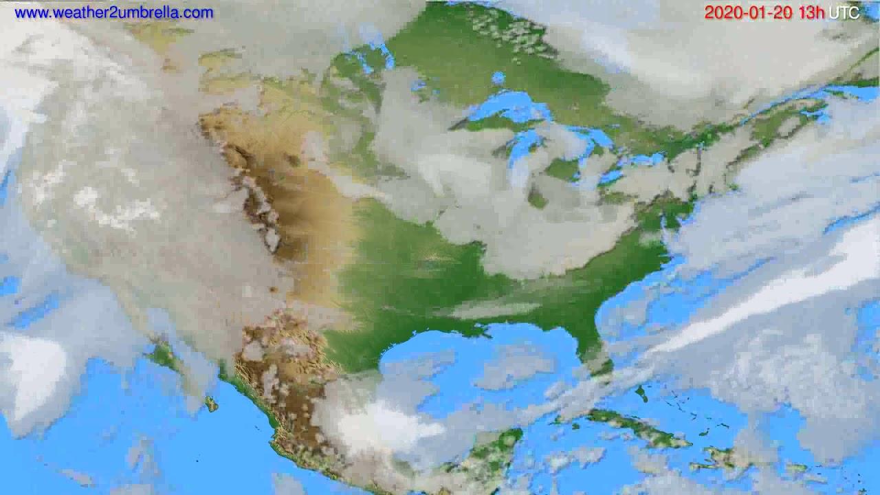 Cloud forecast USA & Canada // modelrun: 12h UTC 2020-01-19
